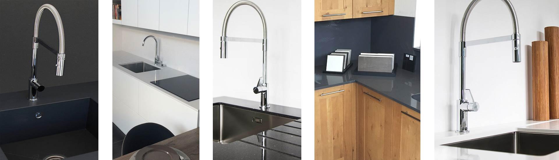 Showroom plan de travail éviers cuisine salle de bain blanc noir
